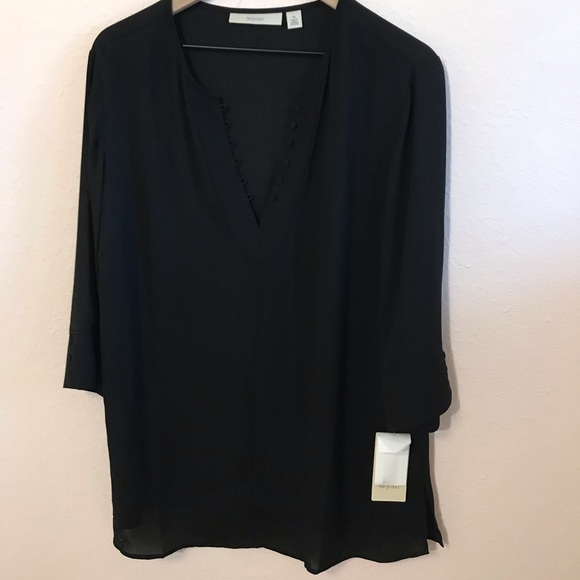 Sejour Semi Sheer Black Button Tunic NWT 0X
